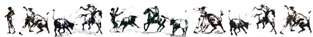 Stierkampfsteifen mit Pferd